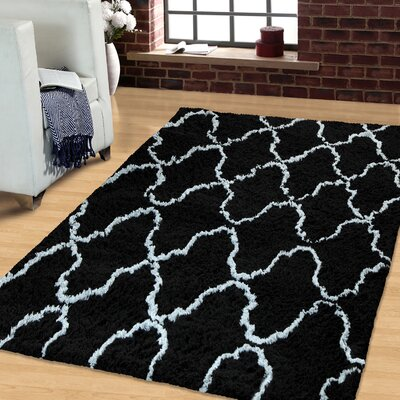 Superior Trellis Hand-Woven Black/Silver Area Rug Rug Size: Rectangle 5 x 8