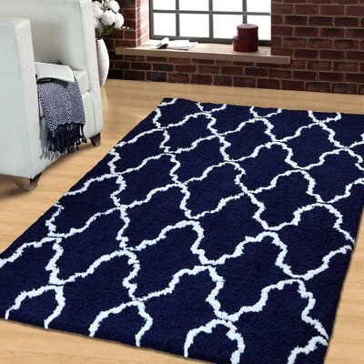 Superior Trellis Hand-Woven Navy Blue/White Area Rug Rug Size: Rectangle 5 x 8