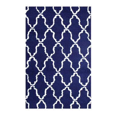 Superior Trellis Hand-Woven Navy Blue/White Area Rug Rug Size: 5 x 8