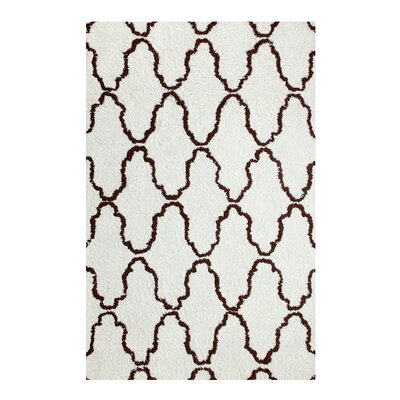 Superior Trellis Hand-Woven Ivory/Chocolate Area Rug Rug Size: 5 x 8