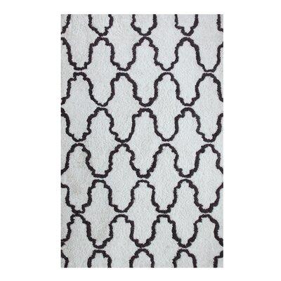 Superior Trellis Hand-Woven White/Gray Area Rug Rug Size: 4 x 6