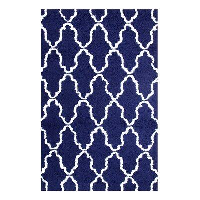 Superior Trellis Hand-Woven Navy Blue/White Area Rug Rug Size: 8 x 10