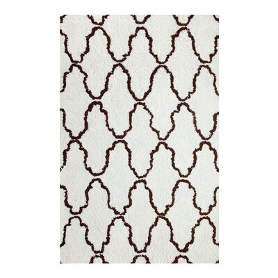 Superior Trellis Hand-Woven Ivory/Chocolate Area Rug Rug Size: 4 x 6
