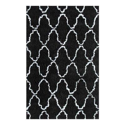 Superior Trellis Hand-Woven Black/Silver Area Rug Rug Size: 5 x 8