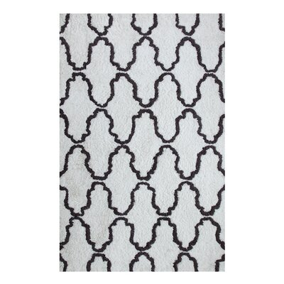 Superior Trellis Hand-Woven White/Gray Area Rug Rug Size: 8 x 10