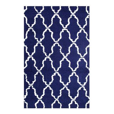 Superior Trellis Hand-Woven Navy Blue/White Area Rug Rug Size: 4 x 6