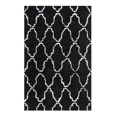 Superior Trellis Hand-Woven Black/Silver Area Rug Rug Size: 8 x 10