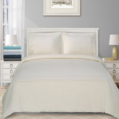 Cullen Embroidered 3 Piece Duvet Set Color: Ivory, Size: Full/Double/Queen