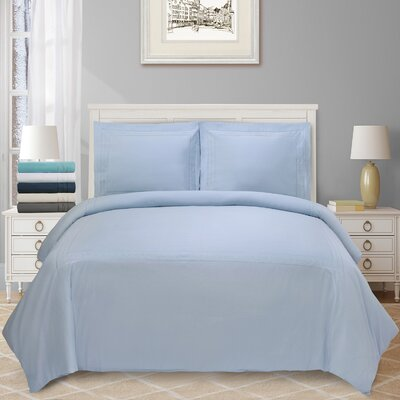 Cullen Embroidered 3 Piece Duvet Set Color: Light Blue, Size: Full/Double/Queen