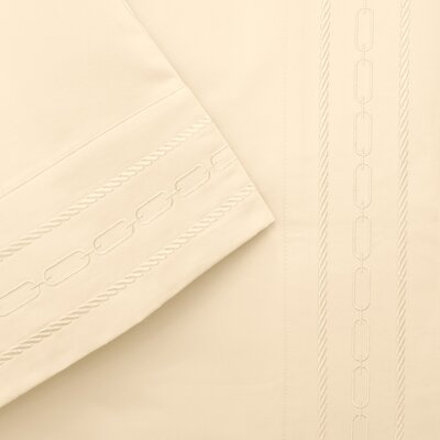 Cullen 1000 Thread Count Embroidered Pillowcase Color: Ivory, Size: Standard
