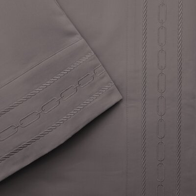 Larksville 1000 Thread Count Embroidered Pillowcase Color: Silver, Size: Standard