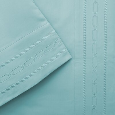 Larksville 1000 Thread Count Embroidered Pillowcase Color: Teal, Size: Standard