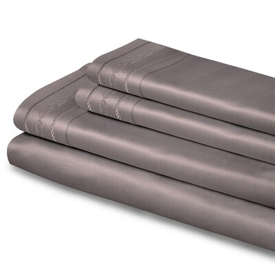 Cullen Embroidered 1000 Thread Count Egyptian-Quality Cotton Sheet Set Color: Silver, Size: Queen