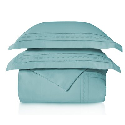Cullen Embroidered 3 Piece Duvet Set Color: Teal, Size: Full/Double/Queen