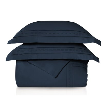 Larksville Embroidered 3 Piece Duvet Set Color: Navy Blue, Size: King/California King