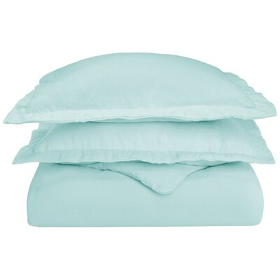 Pantoja Paisley and Solid Flannel Cotton Duvet Set Size: King/California King, Color: Light Blue Solid