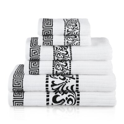 Athens 6 Piece Towel Set Color: Black