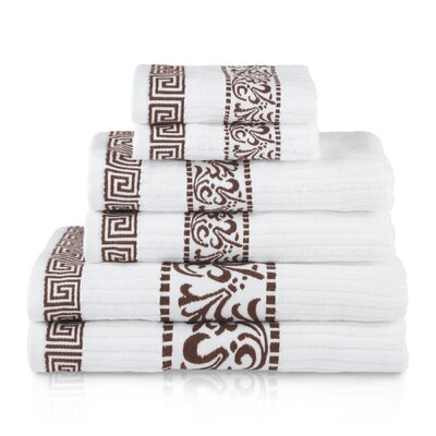6 Piece Cotton Towel Set Color: Chocolate