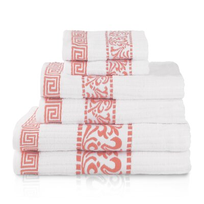 Athens 6 Piece Towel Set Color: Coral