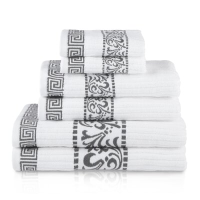 6 Piece Cotton Towel Set Color: Gray