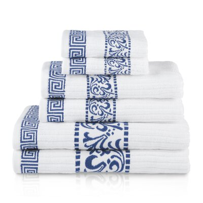 6 Piece Cotton Towel Set Color: Navy Blue
