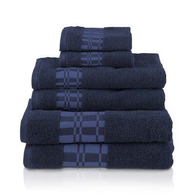 6 Piece Towel Set Color: Navy Blue