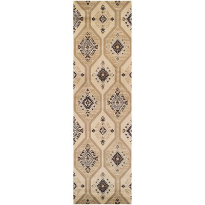 Aurora Cream/Tan/Black Area Rug Rug Size: Runner 27 x 8