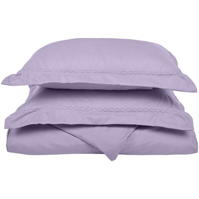 Garrick Embroidered Reversible Bedroom Duvet Set Color: Lilac, Size: King / California King