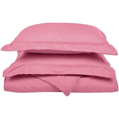 Garrick Embroidered Reversible Bedroom Duvet Set Color: Pink, Size: Twin / Twin XL