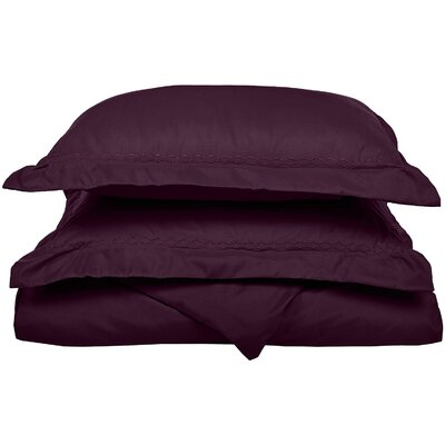 Garrick Embroidered Reversible Bedroom Duvet Set Color: Plum, Size: Twin / Twin XL