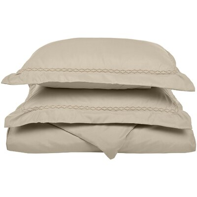 Garrick Embroidered Reversible Duvet Set Size: Full / Queen, Color: Tan