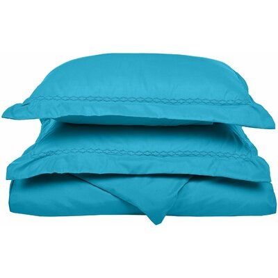 Garrick Embroidered Reversible Bedroom Duvet Set Color: Aqua, Size: Twin / Twin XL
