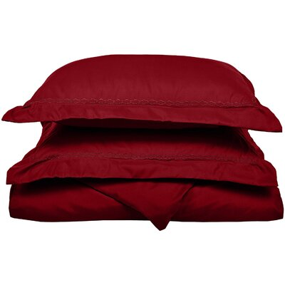 Garrick Embroidered Reversible Bedroom Duvet Set Color: Burgundy, Size: Twin / Twin XL