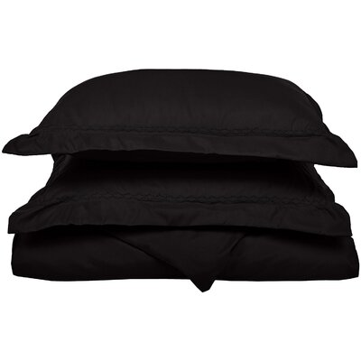 Garrick Embroidered Reversible Duvet Set Color: Black, Size: King / California King