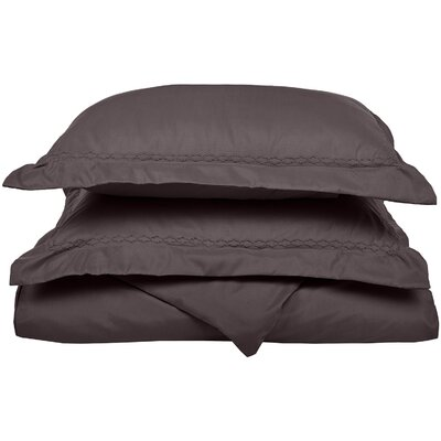 Garrick Embroidered Reversible Bedroom Duvet Set Color: Charcoal, Size: King / California King