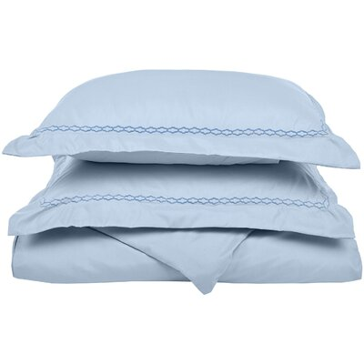 Garrick Embroidered Reversible Bedroom Duvet Set Size: Full / Queen, Color: Light Blue