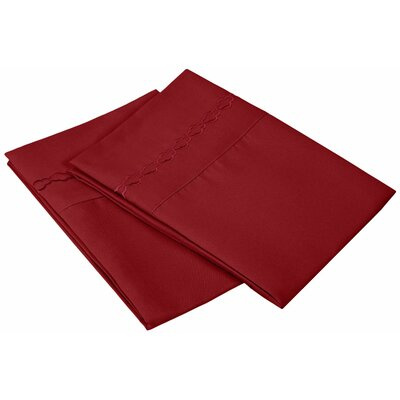 Garrick Solid Clouds Embroidery Pillowcase Color: Burgundy, Size: King