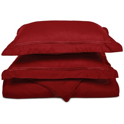 Granger Duvet Set Size: Full / Queen, Color: Burgundy