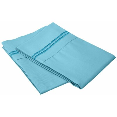 Granger Solid-2 Line Pillowcase Size: Standard, Color: Aqua