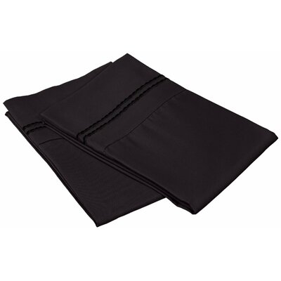 Granger Solid-2 Line Pillowcase Size: Standard, Color: Black
