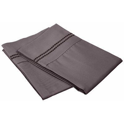Granger Solid-2 Line Pillowcase Size: Standard, Color: Charcoal
