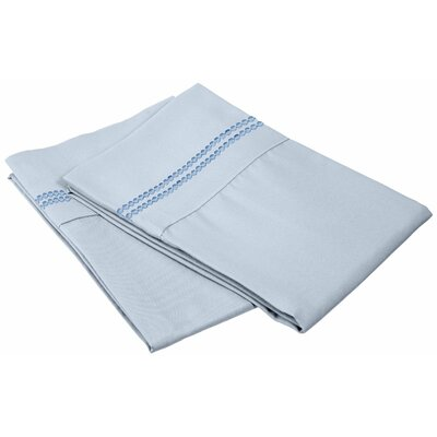 Granger Solid-2 Line Pillowcase Color: Light Blue, Size: King