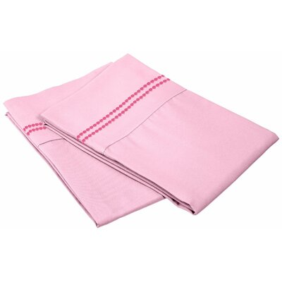 Granger Solid-2 Line Pillowcase Size: King, Color: Pink