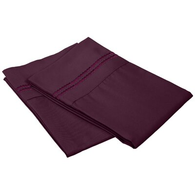 Granger Solid-2 Line Pillowcase Color: Plum, Size: King