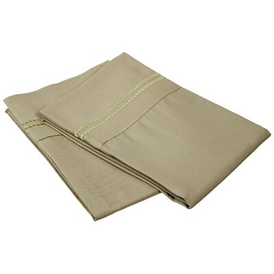 Granger Solid-2 Line Pillowcase Size: King, Color: Sage