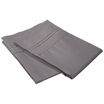 Granger Solid-2 Line Pillowcase Size: King, Color: Silver