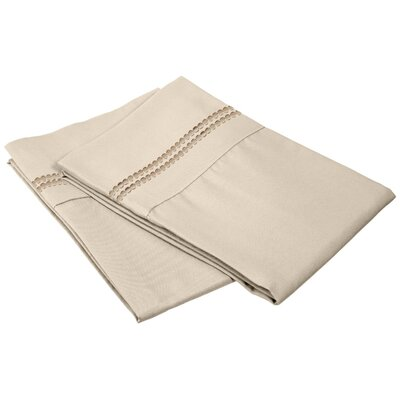 Granger Solid-2 Line Pillowcase Size: King, Color: Tan