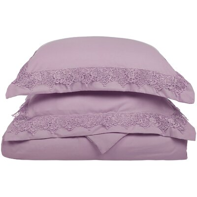 Smith Reversible Duvet Set Color: Purple, Size: Full / Queen
