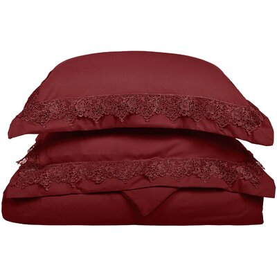 Smith Reversible Duvet Set Size: King / California King, Color: Burgundy