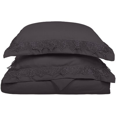 Smith Reversible Duvet Set Size: King / California King, Color: Charcoal